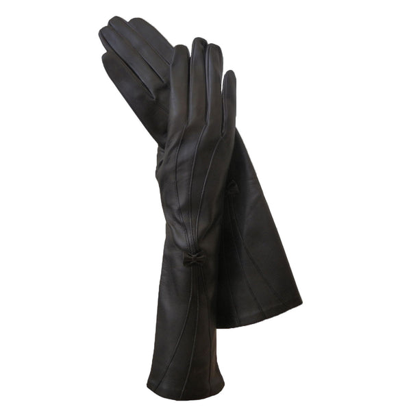 Black Long Women's Italian Leather Glove With Bow Lined in Silk. 8-BT - Solo Classe