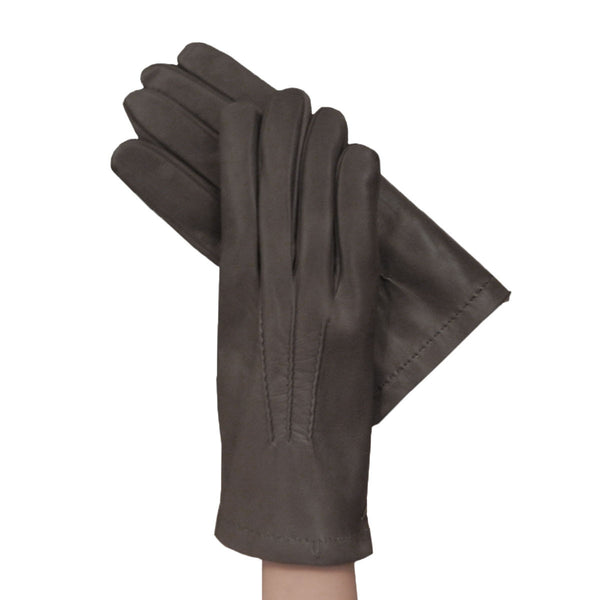 Gray Men's Kidskin Leather Gloves Lined in Cashmere. - Solo Classe