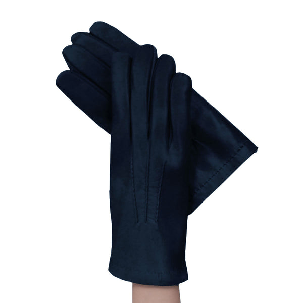 Men's Navy Blue Italian kidskin leather gloves lined in cashmere. - Solo Classe