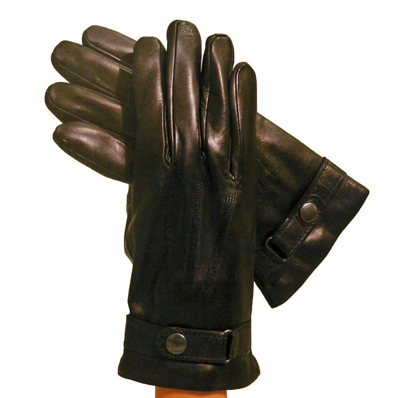 Mens Black Leather Dress Gloves With Strap And Cashmere Lining