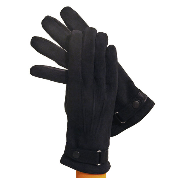 Navy Blue Men's Textured Leather Gloves, Lined in Cashmere. - Solo Classe