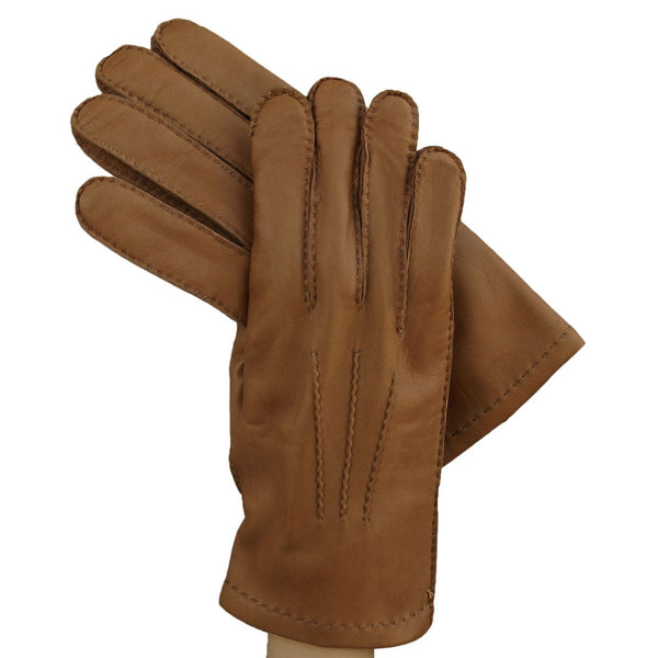 Men's Tobacco Brown kidskin leather gloves with cashmere lining - Solo Classe