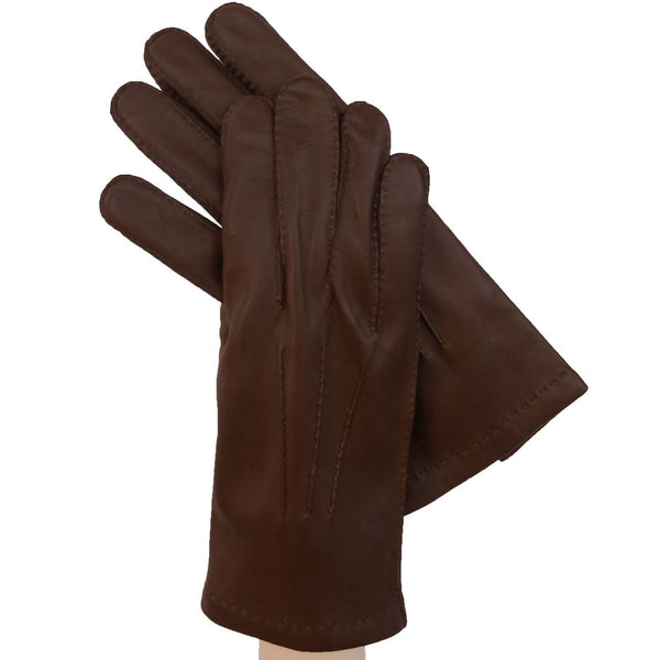 Brown Men's Leather Gloves  w/ Hand Sewn Outside Stitching, Cashmere Lining - Solo Classe