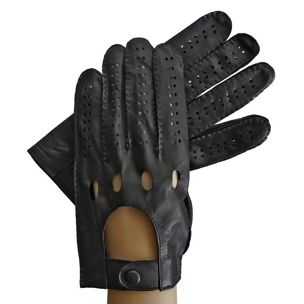 Black Men's Driving Leather Gloves. Unlined. - Solo Classe