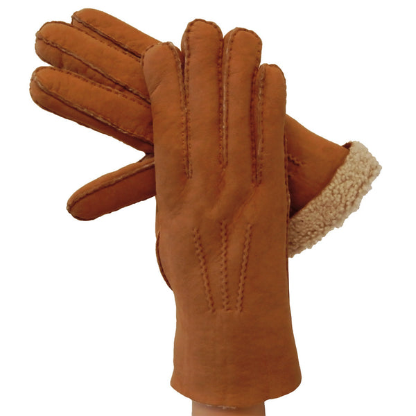 Shearling Tobacco Men's Leather Gloves, Outside Stitching, Wool Lined - Solo Classe