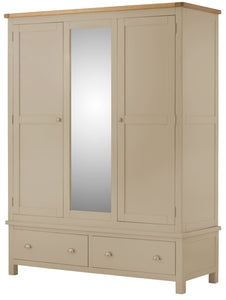Oregon Oak Triple Wardrobe - Pebble