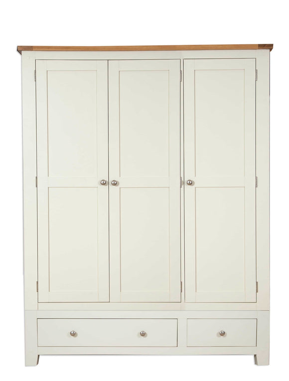 Canberra Painted    Triple Wardrobe - Ivory