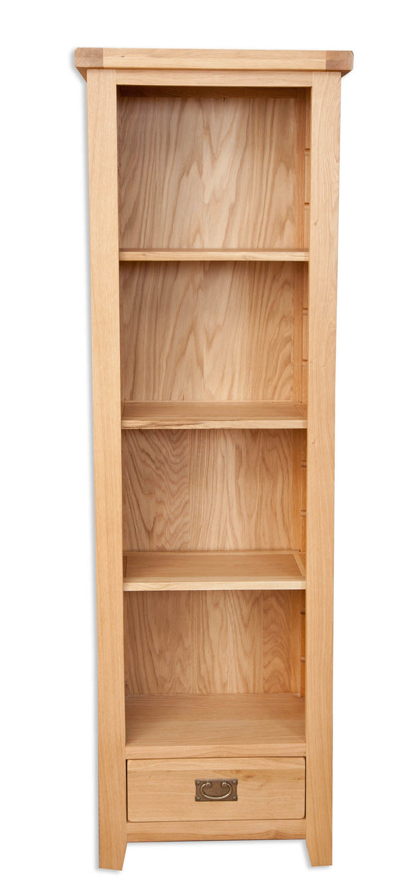 Canberra Oak Tall Narrow Bookcase - Natural Finish
