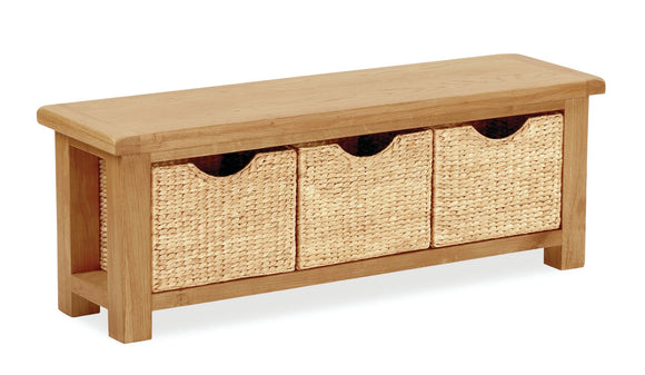 Manor Oak Bench with Baskets