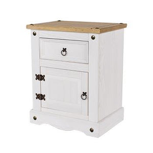 Corona White Pine 1 door, 1 drawer bedside cabinet