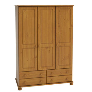 Richmond Bedroom 4 Drawer Triple Wardrobe - Pine