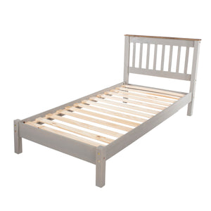 "Corona Grey Washed Pine 3'0"" slatted lowend bedstead"