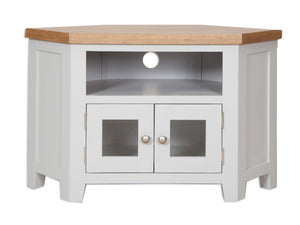 Canberra Painted Corner Glass Door TV Unit - Grey