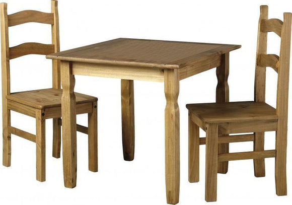 Corona Mexican Pine   Rio Square Dining Set with 2 Chairs