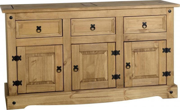 Corona Mexican Pine   3 Drawer 3 Door Sideboard