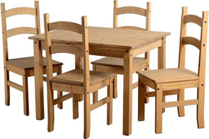 Corona Mexican Pine   Budget Dining Set with 4 Chairs