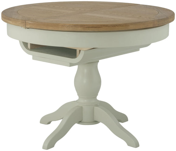 Oregon Oak Grand Round Butterfly Extending Dining Table - Stone