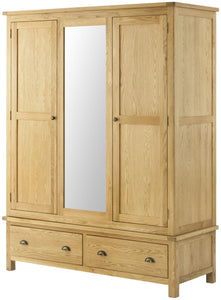 Oregon Oak Triple Wardrobe - Oak