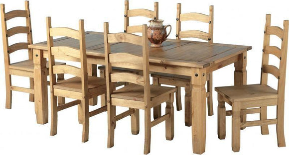Corona Mexican Pine   Dining Set 6' Table with 6 Chairs