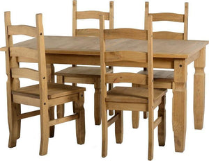 Corona Mexican Pine   Dining Set 5' Table with 4 Chairs