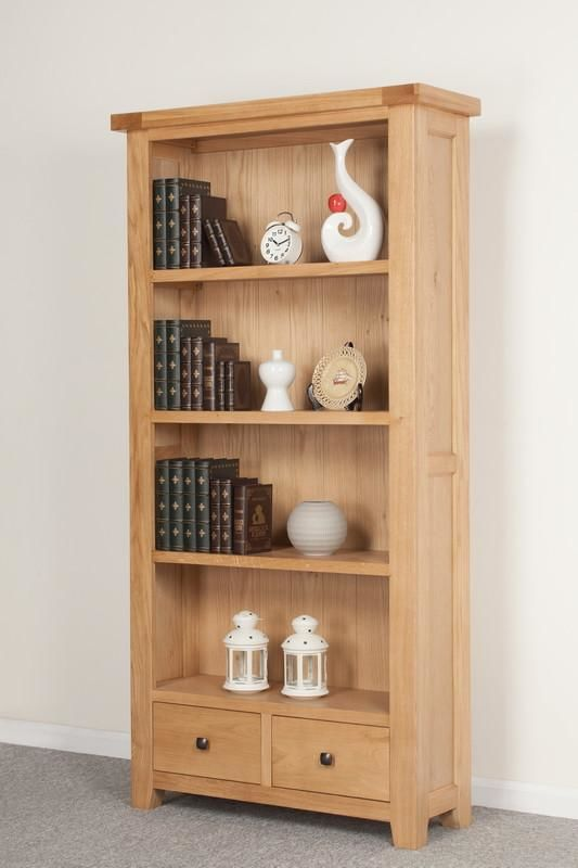 Devonshire Oak  2 Drawer Tall Wide Bookcase