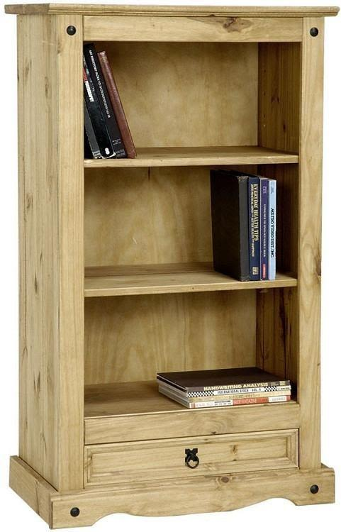 Corona Mexican Pine   Small Bookcase with 1 Drawer