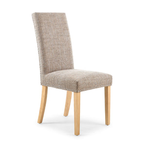 Accent Dining Chairs - Stud Detail Dining Chair - Oatmeal Tweed