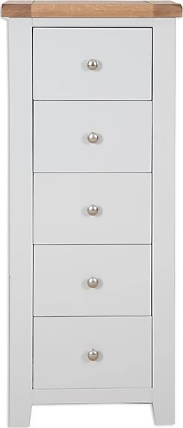 Canberra Painted 5 Drawer Narrow Chest - Grey