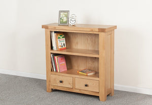 Devonshire Oak  2 Drawer Low Bookcase