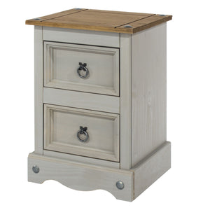 Corona Grey Washed Pine 2 Drawer petite bedside cabinet