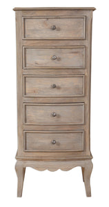 Bordeaux Grey Shabby Chic 5 Drawer Tall Narrow Chest