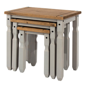 Corona Grey Washed Pine Nest of Tables