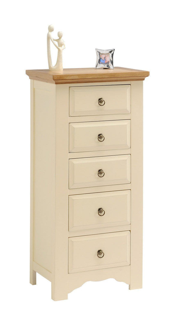 Malvern Painted Bedroom 5 Drawer Narrow Chest
