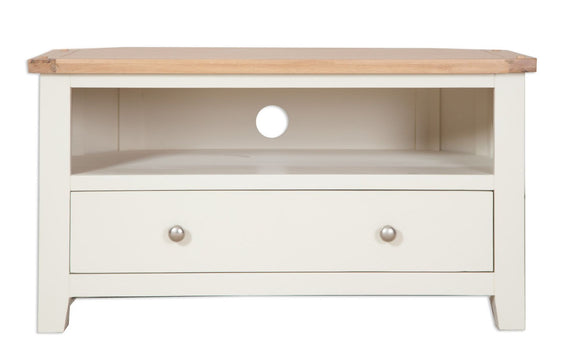 Canberra Painted      Corner 1 Drawer TV Unit - Ivory