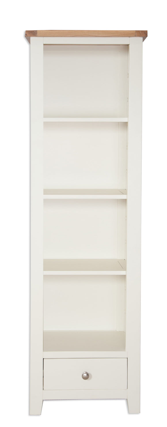 Canberra Painted Tall Narrow Bookcase - Ivory