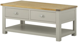 Oregon Oak Coffee Table with Drawers - Stone