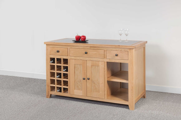 Devonshire Oak Kitchen Island with Granite Top