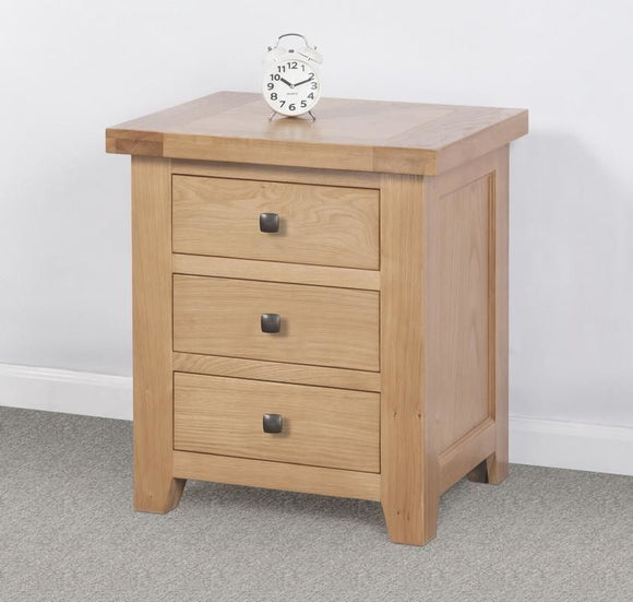 Devonshire Oak  3 Drawer Bedside Cabinet