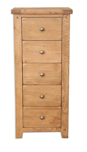 Canberra Oak 5 Drawer Narrow Chest - Rustic Finish