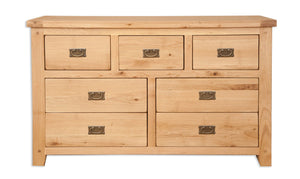 Canberra Oak 7 Drawer Wide Chest - Natural Finish
