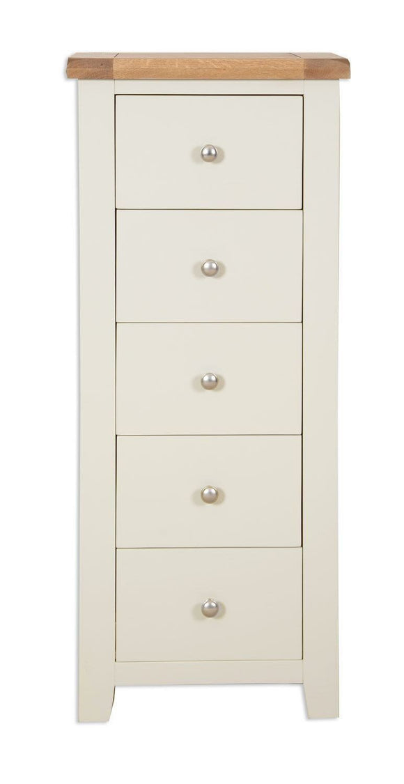 Canberra Painted 5 Drawer Narrow Chest - Ivory