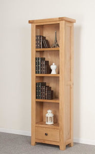 Devonshire Oak 1 Drawer Tall Narrow Bookcase