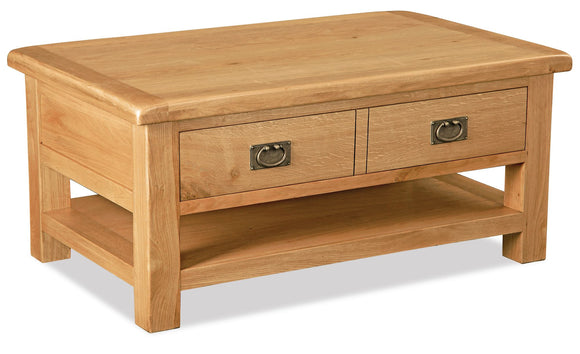 Manor Oak Large Coffee Table With Drawer And Shelf