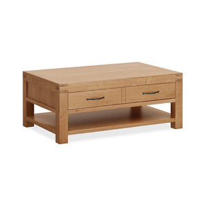Chunky Oak 2 Drawer Coffee Table