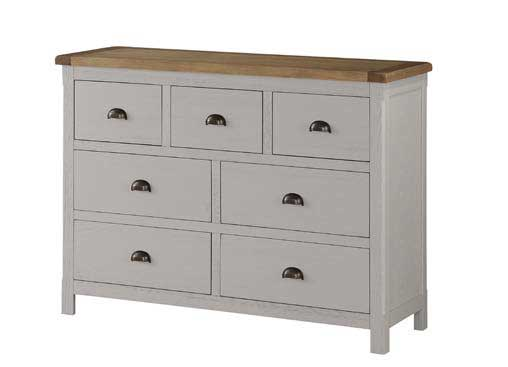Brookdale 3 over 4 Wide Chest - Stone Grey