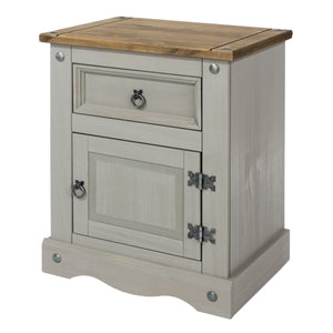 Corona Grey Washed Pine 1 door, 1 drawer bedside cabinet