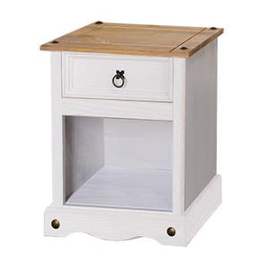 Corona White Pine 1 drawer bedside cabinet