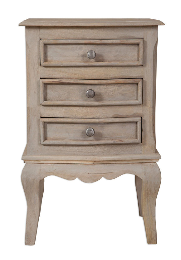 Bordeaux Grey Shabby Chic  3 Drawer Bedside Cabinet