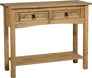 Corona Mexican Pine   Console Table 2 Drawers with Shelf