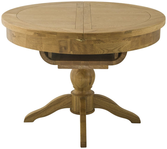 Oregon Oak Grand Round Butterfly Extending Dining Table - Oak